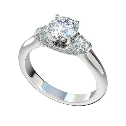 Silver Pave Collar Engagement Ring with Peg Head