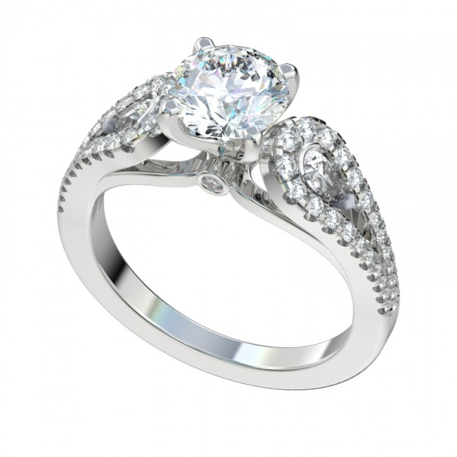 Split Shank Ring With Pear Shaped Side Stones R1083