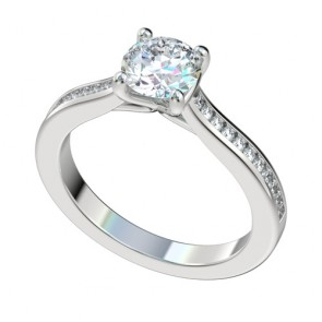 Silver Faux Trellis Engagement Ring with Channel Setting