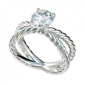 Silver Criss-Crossing Rope Engagement Ring with Peg Head