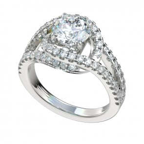 Silver Split Shank Halo Engagement Ring