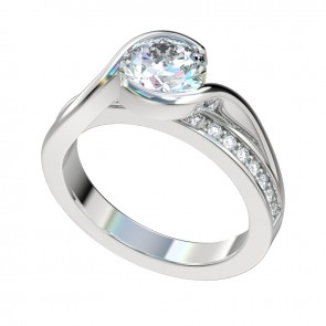 Silver Bypass Engagement Ring with Bezel Center