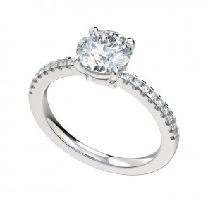 Silver Split Prong Scallop Setting Engagement Ring