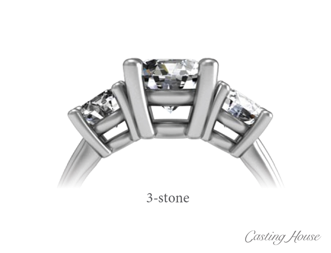 Ring Gallery and Center Setting Styles  -3 stone