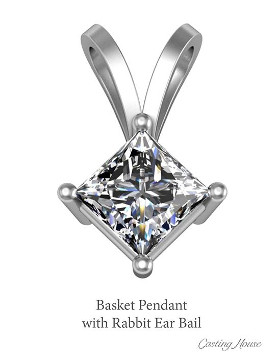 basket pendant with rabbit ear bail