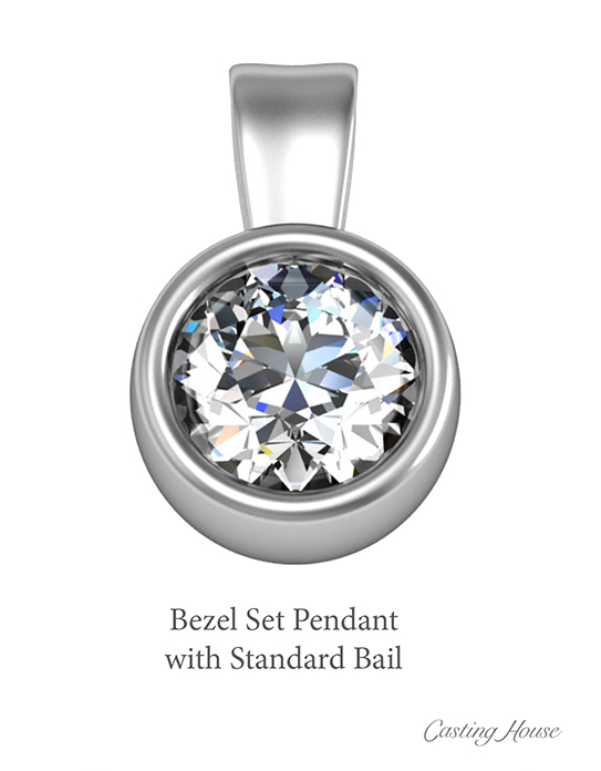 bezel style pendant and standard bail